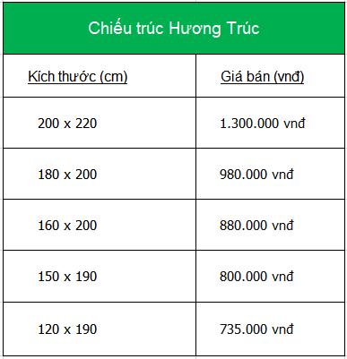 bảng giá chiếu trúc hương trúc