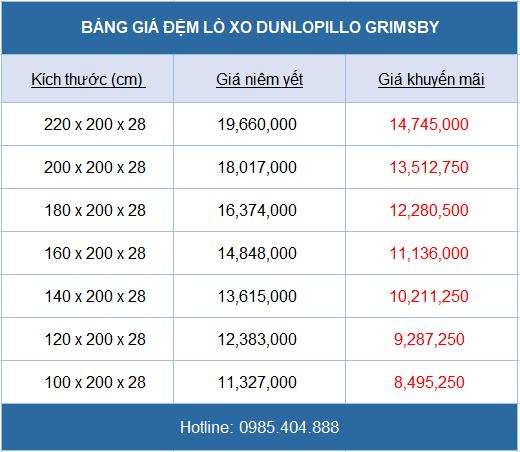 Bảng giá đệm lò xo Dunlopillo Grimsby