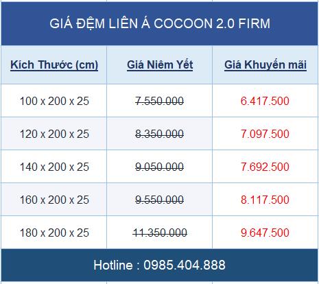 bảng giá đệm lò xo Liên Á cocoon 2.0 Firm